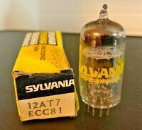 NOS / NIB Sylvania 12AT7 ECC81 Dual Triode Vacuum Tube Hickok 600A Strong