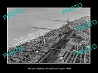 OLD LARGE HISTORIC PHOTO OF BLACKPOOL ENGLAND, VIEW OF THE TOWN & PIER c1950