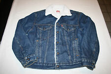 Vtg Levi Jean Jacket Sherpa Fleece Vtg Dark Denim 42R  USA San Francisco