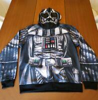 Star Wars DARTH VADER Men's Hoodie Sweatshirt Jacket Full Mask Costume Large NEW