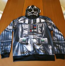 Star Wars DARTH VADER Men's Hoodie Sweatshirt Jacket Full Mask Costume Large NEW