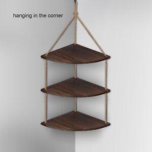 Rustic Hanging Swing Corner Shelve Solid Wood Rope Ladder Floating Shelf Storage