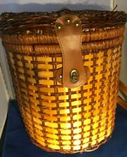 Vintage Primitive Weaved Wicker Picnic Basket Backpack -Low cost, fast shipping
