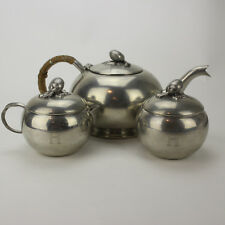Vintage Queen Art Pewter Tea Set, 3 Pieces, Made in Brooklyn Usa