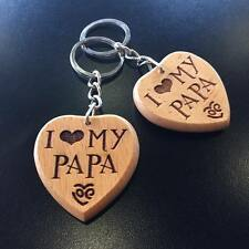 I LOVE MY PAPA Engraved Wooden Keyring Keychain Gifts for Papa