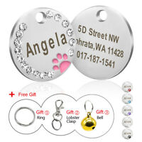 Rhinestone Personalised Dog Tags Cute Paw Pet Cat ID Name Engraved Collar Discs