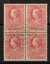 NETHERLANDS SGJ29 1951 15c RED BLOCK OF 4 FINE USED