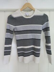 WITCHERY Sz XS Grey & White Colourblock Knit Top VGC