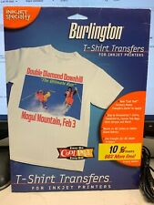 Burlington T-Shirt Transfers  For use on Light  Fabrics -Inkjet Printers