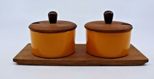 Luthje Mid Century Modern Teak 2 Condiment Set Lid Tray Yellow Made in Denmark