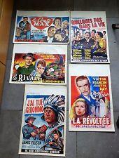 Lot de 5 affiches de cinéma belges datant toutes des années 1950 très bon état