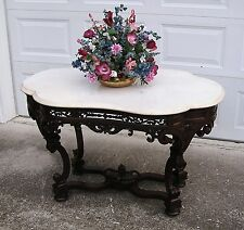 EXQUISITE VICTORIAN MEEKS MARBLE TOP CENTER TABLE