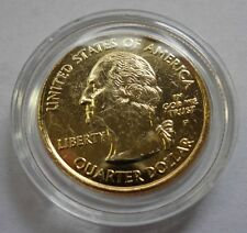 24 K GOLD PLATED STATE QUARTERS-ONE  QUARTER-UNCIRCULATED IN PLASTIC CAPSULE