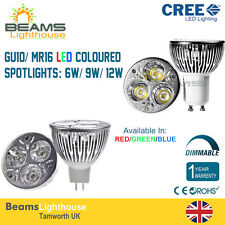 Dimmable GU10/MR16 3W 6W 9W RED/BLUE/GREEN/WARM/COOL White LED Colour Light Bulb