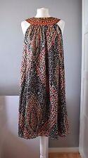 Monsoon Embellished Sequin Grecian Sleeveless Silk Brown Gold Dress Size 12/40