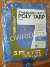 3 Standard Duty 5' X 7' Poly Tarp  3.5 Mil 8 X 8 Weave All Purpose Cover  - NEW
