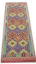 Afghan Handmade Nomadic Tribal Unique Multi Coloured Wool Kilim Runner 86x249cm