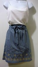 NWT Ann Taylor Loft Skirt Sz 6 Blue Chambray Embroidered Elastic Paperbag Waist