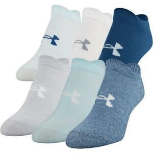 Under Armour Women 6 Pk Blue No Show Knit UA Essential Training Socks M 6-9 NEW