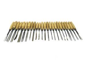 Set Of 24 Boxwood & Ash Handled Henry Taylor Carving Chisels.