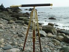 Tall Brass & Leather Nautical Telescope & Stand Maritime Antique Style