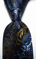 New Classic Paisley Dark Blue Black Gold JACQUARD WOVEN Silk Men's Tie Necktie