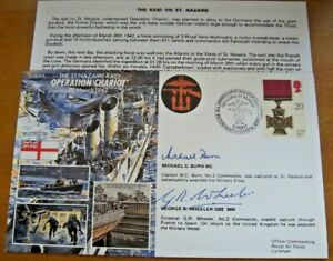 50th ANNIVERSARY OF OPERATION CHARIOT SIGNED BY M BURN MC & G WHEELER MM COVER