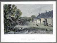 "Fine Rare Colored ENGRAVING ""BURNS'S COTTEGE' 1846 T.J. KELLEY Framed 11 X 11.5"""