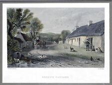 """Fine Rare Colored ENGRAVING """"BURNS'S COTTEGE' 1846 T.J. KELLEY Framed 11 X 11.5"""""""