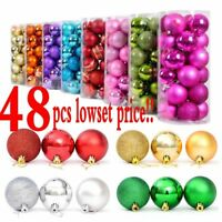 48PCS New Christmas Decorations Baubles Tree Xmas Balls Party Wedding Ornament