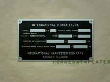 INTERNATIONAL TRUCK PICKUP IHC DATA PLATE 1947 1948 1949 K-1 K-2 K-3 KB-1 KB-2