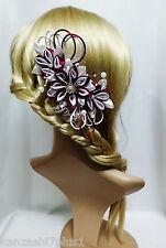 Haarkamm Kanzashi Haargesteck  Zopfhalter Satinblumen Stoffblumen Haarband