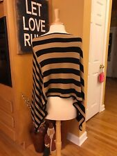 NY COLLECTION Black & Tan Striped Asymmetrical Poncho - ONE SIZE - FREE SHIPPING