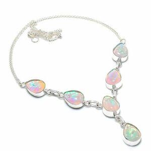 """Australian Triplet Opal Gemstone .925 Silver Handmade Jewelry Necklace 18"""""""