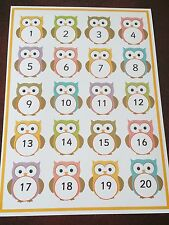 Number Poster With Owls - 1-20 - Childminder / Nursery Display - A4 laminated