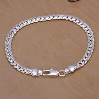 Men's 5mm 20cm 925 sterling silver chains bracelet bangle with gift bag.