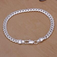 Para Hombre 5mm 20cm Plata Esterlina 925 cadenas Pulsera Brazalete