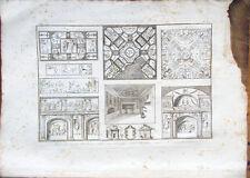 Stampa incisione 1850s-Pitture del Sepolcro dei Nasoni, Catacombe Pagani- TAV.V°