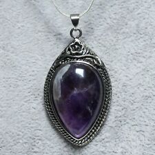 Antique Silver Tone Vintage Style Amethyst Pendant On Sliver Plated Necklace