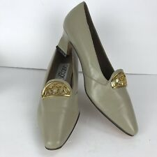 Caressa East Beige Leather Size 8 M Square Toe Heels Comfort Gold Accent Shoes