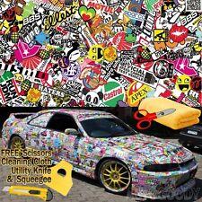 """48"""" x 60"""" JDM illest Stickerbomb Graffiti Cartoon Vinyl Film Wrap Sticker Decal"""