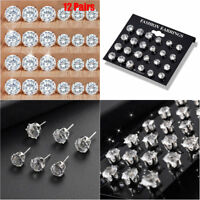 12Pairs/Set Crystal Zircon Stainless Steel Earrings Women Ear Stud Jewelry Gift