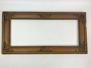 """antique gold ornate gesso picture frame only fits 7.5""""x19.75"""""""