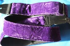 "Purple Crushed Velvet  2""  Guitar Strap  with Woven Backing by LM, PS-3CV P"