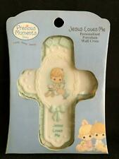 """Precious Moments """"Jesus Loves Me"""" Baby Boy Porcelain Wall Cross BAPTISM GIFT!"""