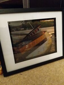 Cornish photo print, boat at Malpus in sunset, complete in black frame