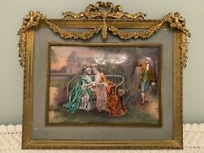 Antique FRENCH ENAMEL PAINTING ON COPPER Signed DORVAL