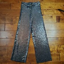 Forever 21 Black & Silver Sequin Wide Leg Long Knit Pants Sparkle Sz Medium NWT