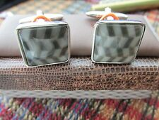 Greyscale herringbone pattern cufflinks