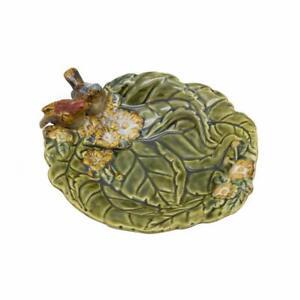 Ceramic Leaf Soap Dish with Birds Bathroom Soap Holder Trinket Tray